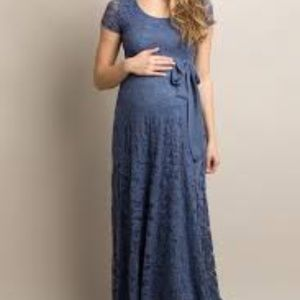 NEW Pinkblush Blue Lace Sash Tie Maternity Gown